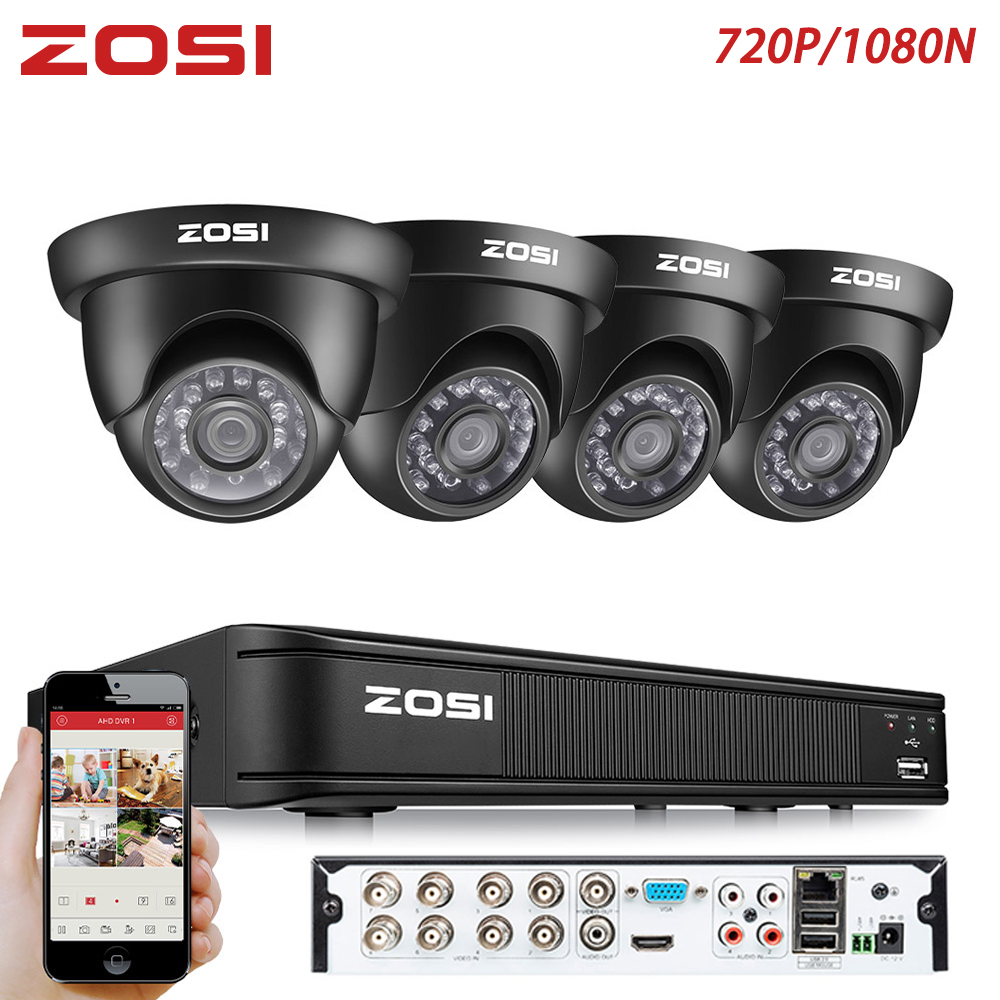 ZOSI 8 Channel 1MP CCTV System Video Len Dome Camera Nightvision Monitor BNC Cable Remote View
