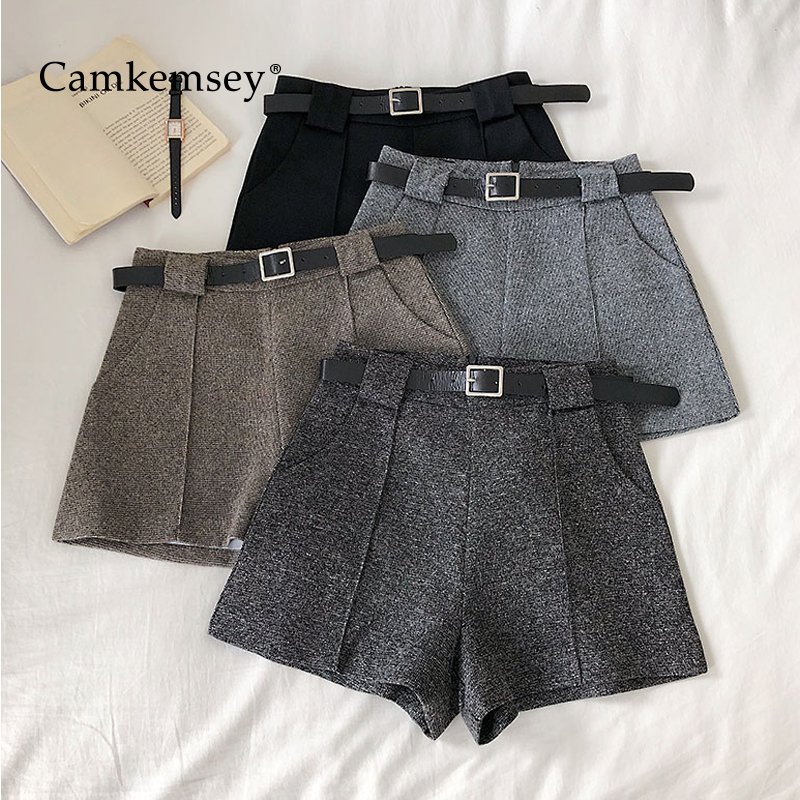 CamKemsey Autumn Winter Casual Wool Blends Shorts Women Korean Chic Solid High Waist Wide Leg Work Office Suits Shorts With Belt