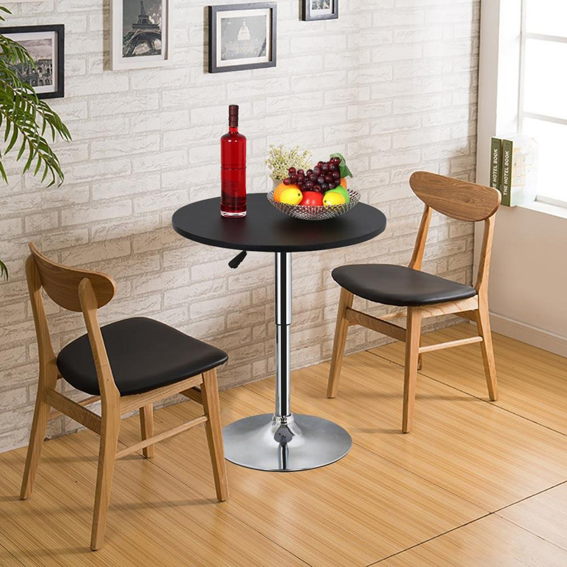 Adjustable height round bar pub table 360 swivel MDF top 70-90 cm high casual dining table coffee table