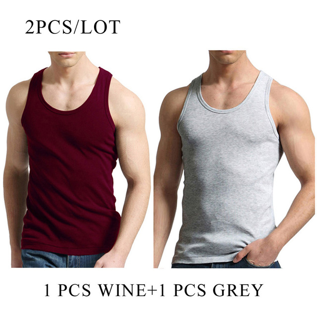 2 PCS/Lot Tank Tops Men 100% Cotton Solid Vest Male Breathable Sleeveless Tops Slim Casual Undershirt Mens Gift 2