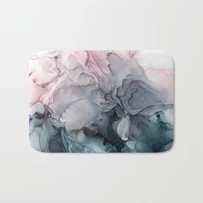 Alfombras de baño calientes rubor y Paynes gris fluido abstracto alfombra de baño franela absorbente antideslizante felpudo puerta de entrada alfombra de baño