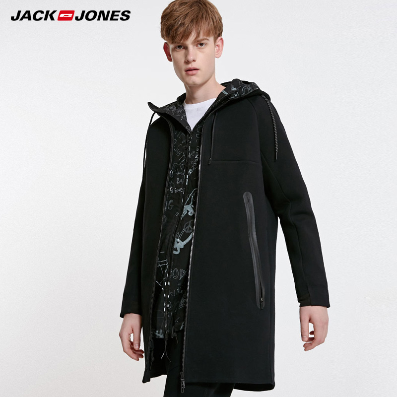 Jack Jones Mens Hooded Casual Medium Length Trench Coat|  219133521