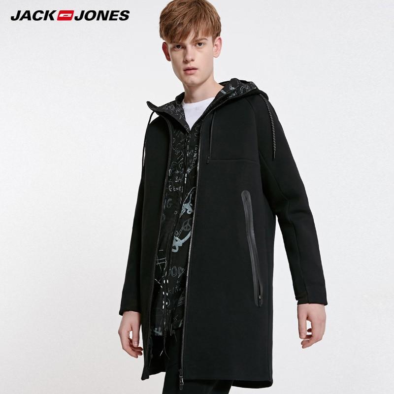 Jack Jones Mens Hooded Casual Medium Length Trench Coat|  219133521