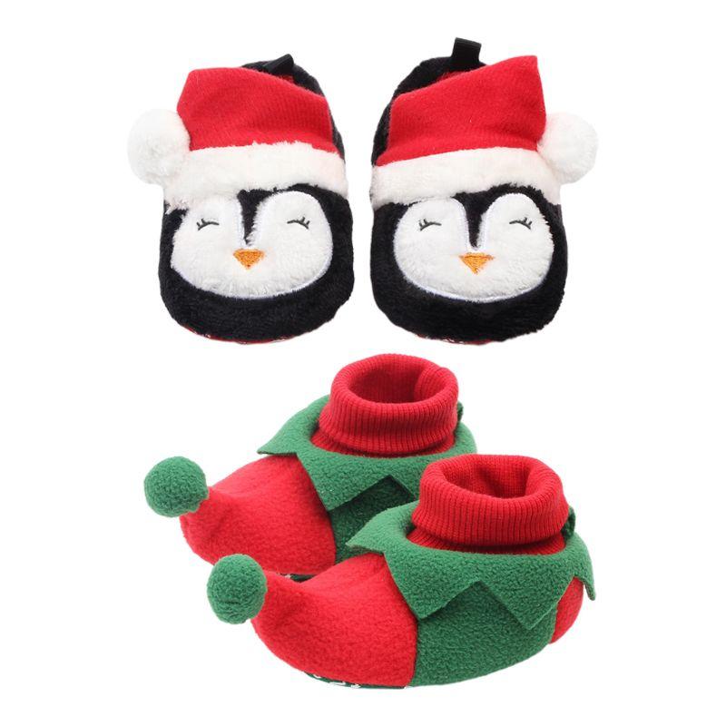 Newborn Baby Christmas Non-Slip Crib Shoes Cartoon Penguin Elf Infant Booties