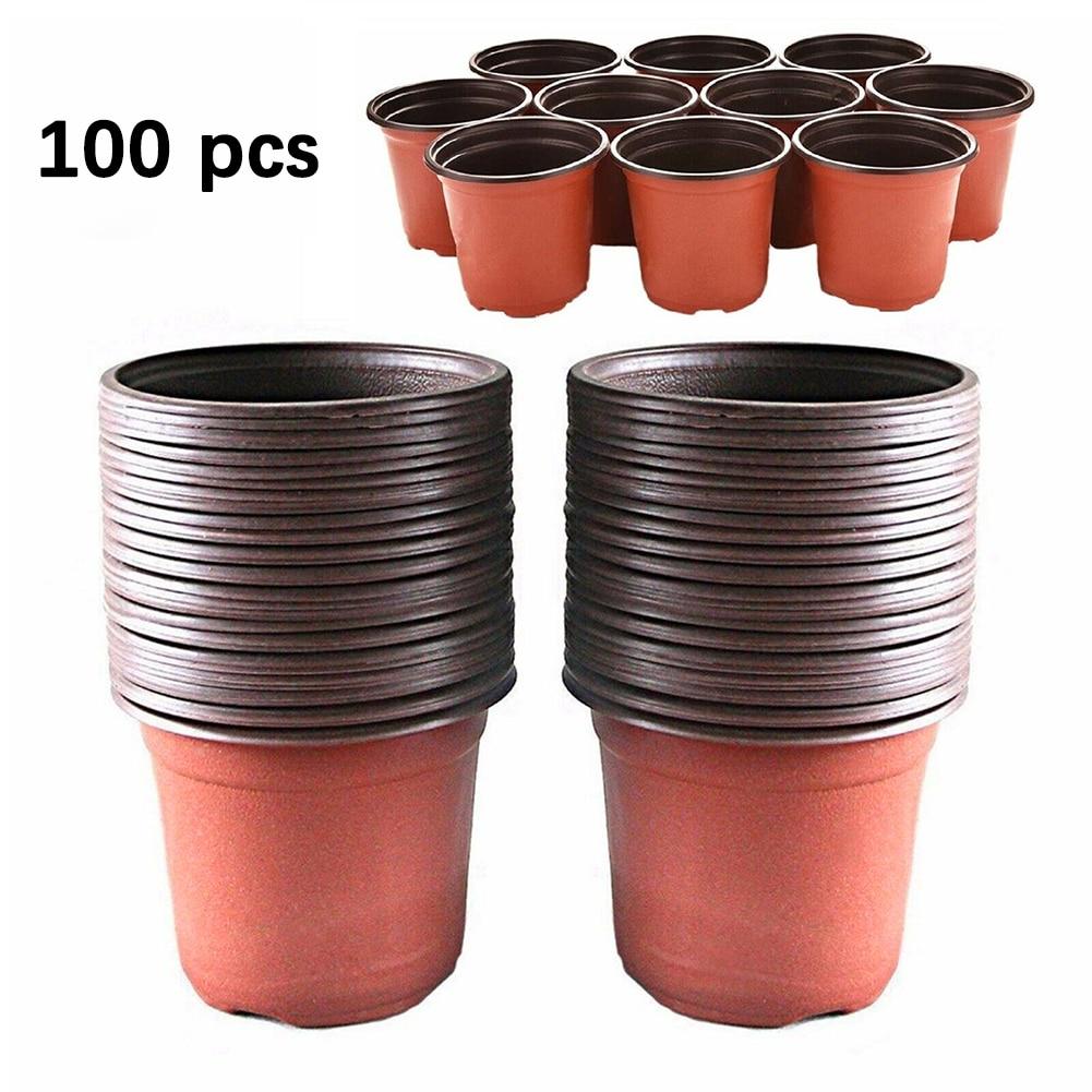Outdoor 100x Plastic Nursery Pot Seedlings Flower Plant Container Garden Seed