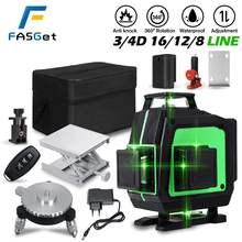 Профессиональный напольный и потолочный лазерный уровень FASGet на 8/12/16 линий с дистанционным управлением 4D Green Line и литий-ионным аккумуляторо...