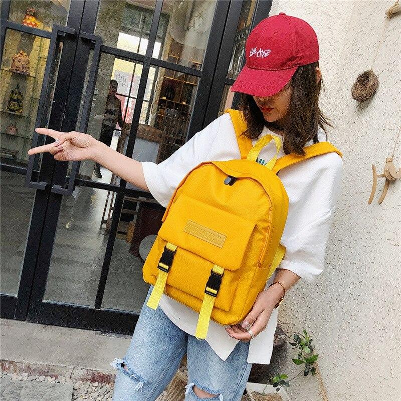Student School Backpack Girls School Bag For Teenager Girl Solid Color Schoolbag Travel Bag Large Capacity Waterproof Bag