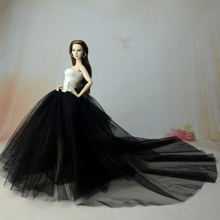 Handmade Long Tail Wedding Dress Evening Party Ball <font><b>Gown</b></font> Lace Skirt <font><b>Bridal</b></font> Veil Clothes For Barbie Doll Accessories High Quality image
