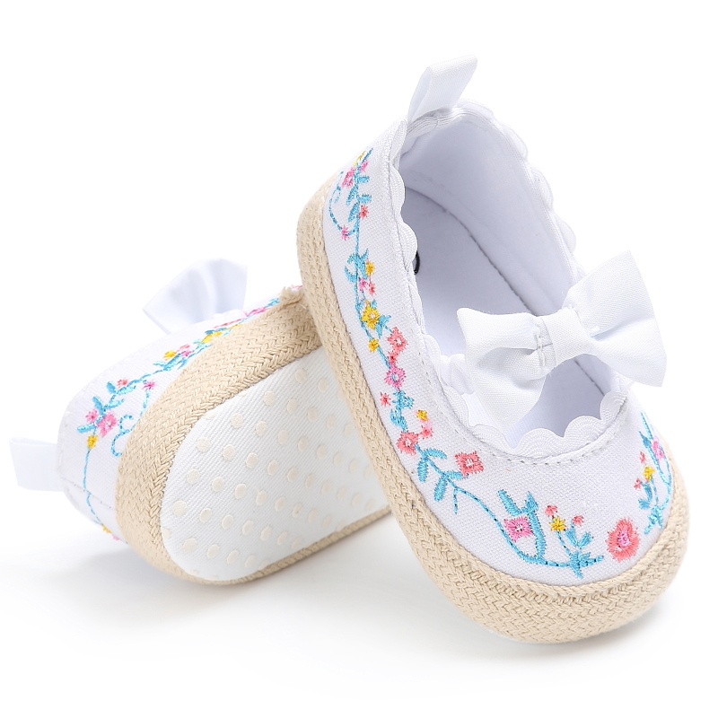Newborn Baby Girls Shoes Princess Cute Mary Jane Bow First Walkers Crib Bebe Soft Soled Anti-Slip Kids Shoes White