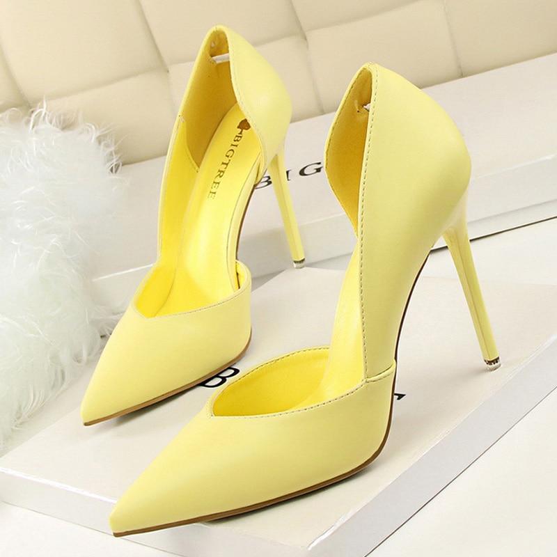 2020 Women Pumps Ladies Shoes High Heels Women Shoes Heels Sexy High Heels Shoes Stiletto Point Red Yellow Heels Chaussure Femme