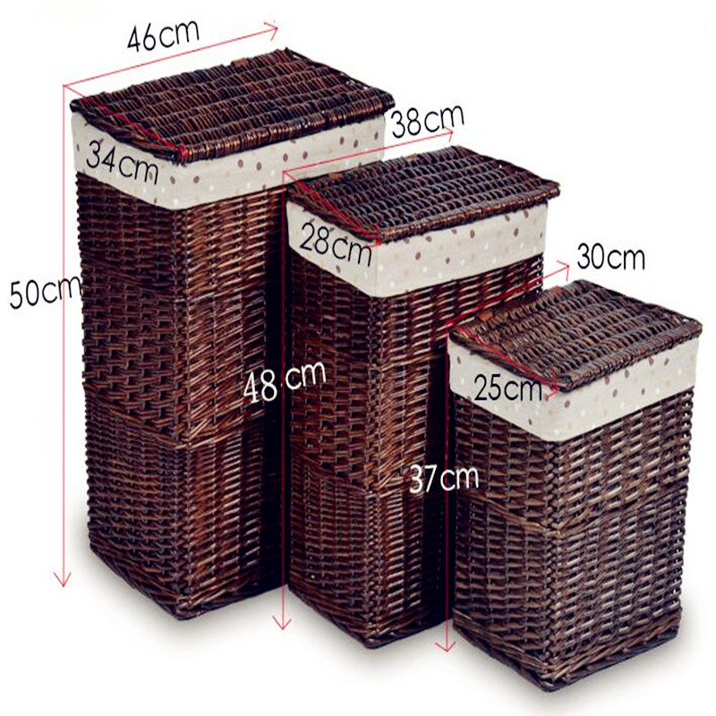 2019 New Boiled steamed willow storage basket rattan hamper laundry basket toy clothes storage box with lid S M L Available
