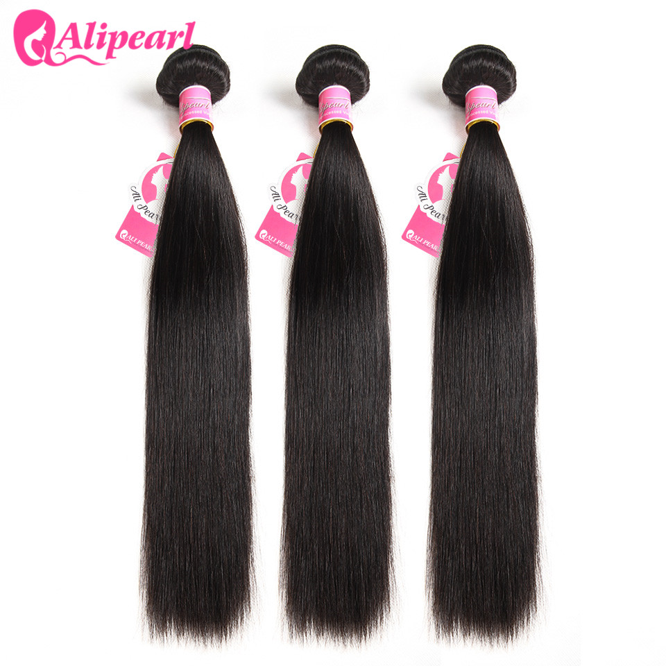 Ali Pearl Hair Brazilian Straight Hair Weave Bundles Human Hair 3 And 4 Bundles 8''-26'' Natural Black 1 PCS Remy Hair Extension