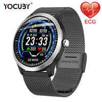 Мужские Смарт-часы YOCUBY N58 ECG PPG с электрокардиограммой, водонепроницаемый монитор сердечного ритма, фитнес-трекер