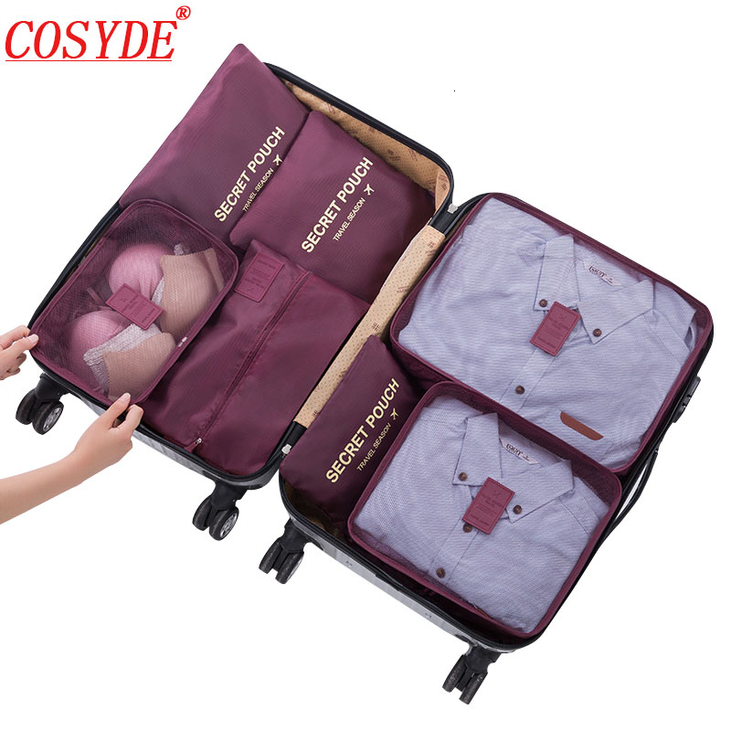 7pcs/set Clothing Cubes Packing Bags Oxford All For Travel Bags Organizer The Suitcases Storage Bag Travel Organizer Luggage