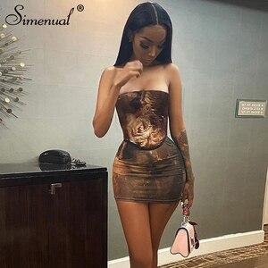 Simenual bez ramiączek Bodycon gorset sukienki w stylu Vintage estetyczny nadruk kobiety seksowny klub nocny Partywear moda chuda Mini sukienka gorąca