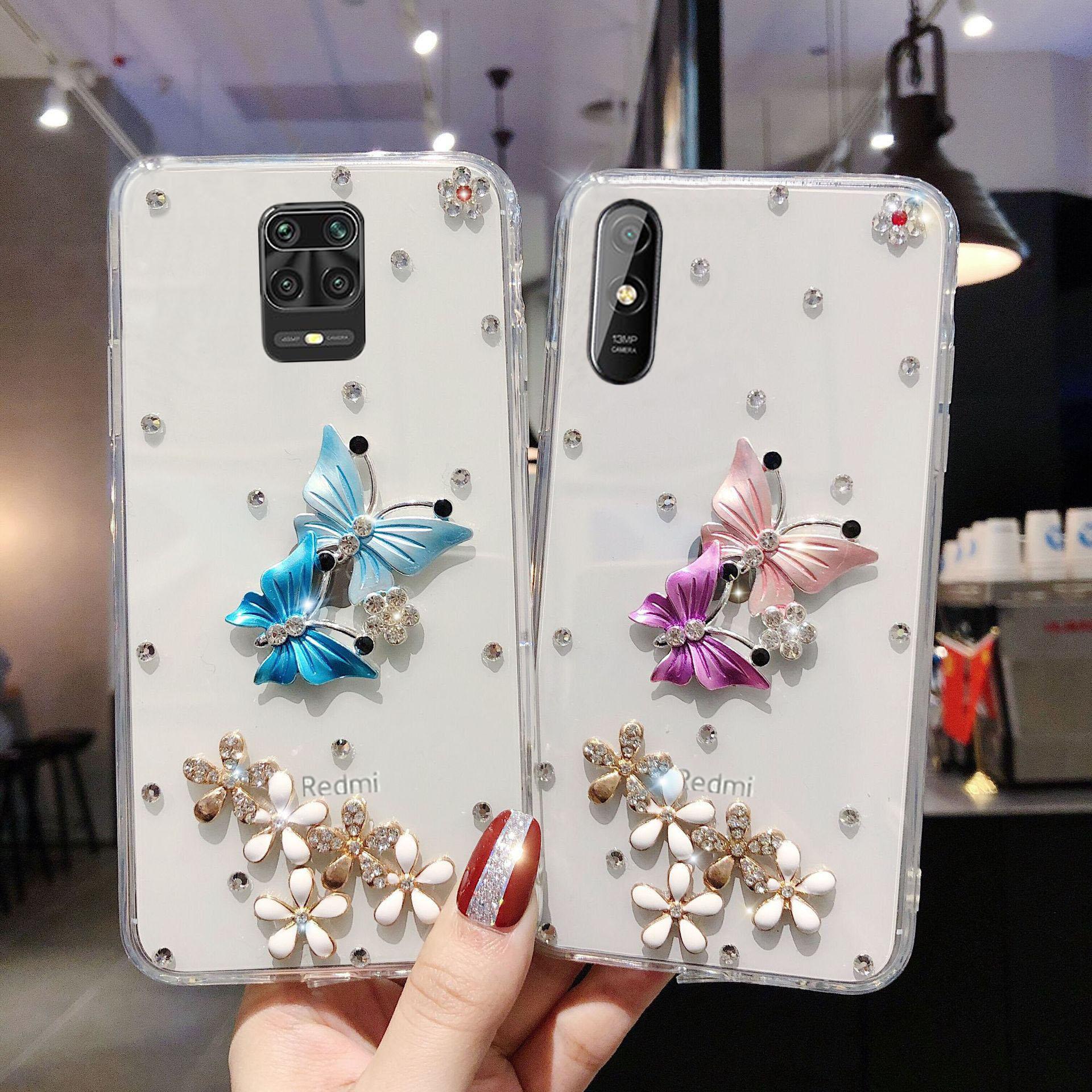 Роскошный чехол с бабочкой для Xiaomi Redmi Note 9s 8 8T 9 4A 4X 5 5A 6 6A 6 Pro 7A 7 8 Pro 8A S2 9AT 9A 9C, чехол с блестящими кристаллами