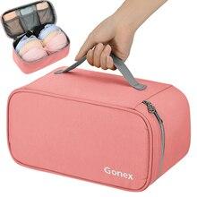 Gonex sutiã underwear saco de armazenamento de viagem embalagem organizador caso pendurado portátil zíper lingerie bolsa para mulheres lady men 6 cores