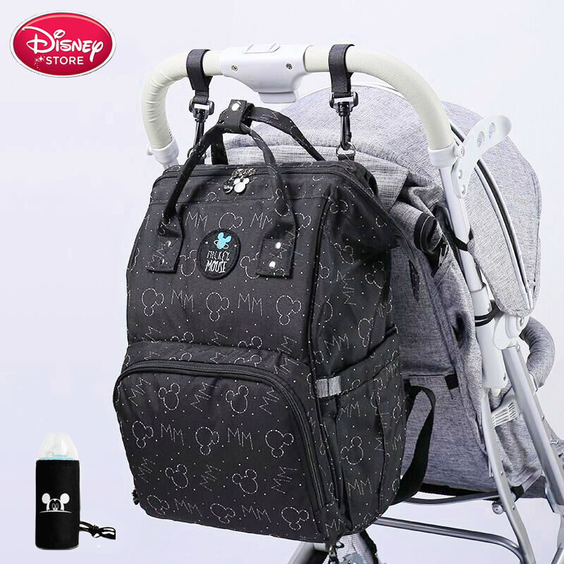 Disney Mickey Mouse Diaper Bag Stroller Mummy Backpack Baby Care Bags Large Maternity Nappy Bag Travel Hook Black Red Colorful