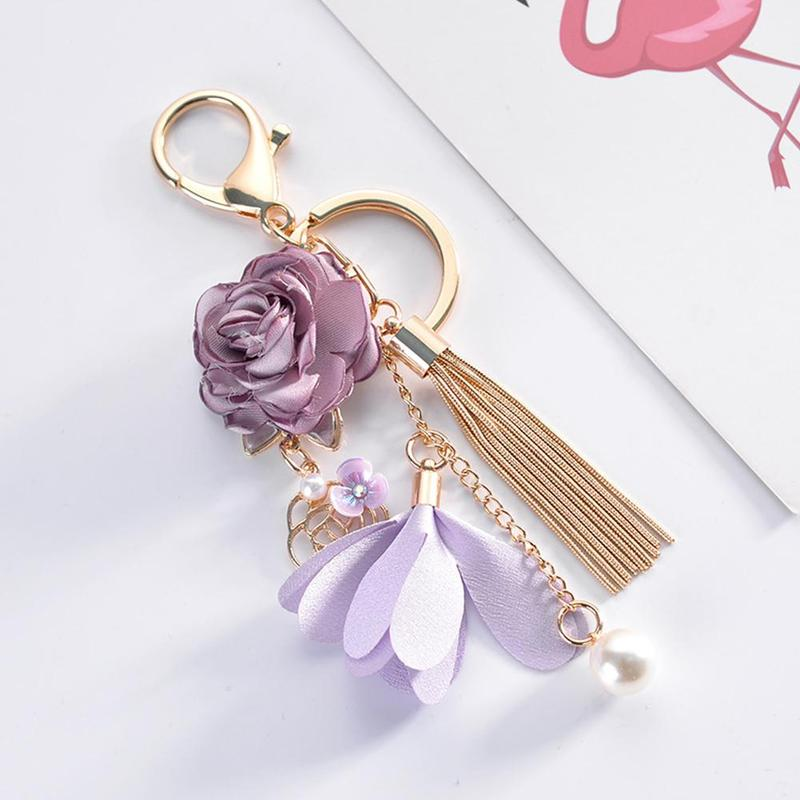 Keychain Fashion Korean Version Of The Small Fresh Fabric Flower Tassel Car Key Chain Creative Bag Pendant Beautiful Ornaments