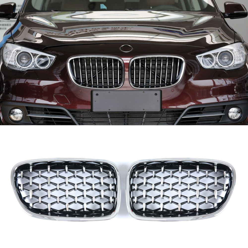 A Pair Diamond Grille For <font><b>BMW</b></font> 5 Series <font><b>GT</b></font> <font><b>F07</b></font> 535i 550i 2009-2017 Car Front <font><b>Bumper</b></font> Kidney Grilles Auto Accessories image