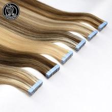 Bant Remy insan saçı yapıştırıcı uzantıları 20 inç saf gerçek Remy teyp insan saç platin sarışın 2 g/adet 40g peri Remy saç