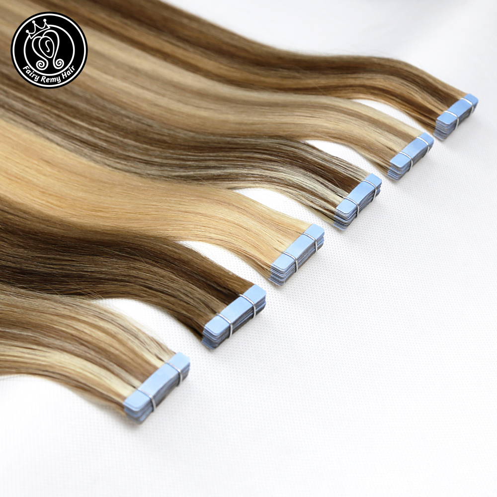 Tape In Remy Human Hair Adhesive Extensions 20 Inch Pure Real Remy Tape On Human Hair Platinum Blonde 2g/pc 40g Fairy Remy Hair