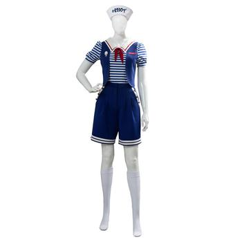 Stranger Things 3 Scoops Ahoy Robin Cosplay Costume Dress Steve Harrington Adult Uniform Working Sailor Suit Halloween Carnival 1