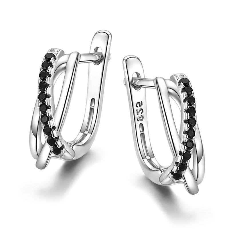 Huitan Simple Women Earring Cross Black Stone Minimalist Gift Low-key Party Daily Wearable New Fashion Female Jewelry Drop Ship