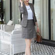Vintage Suits Women Slim Plaid Blazer Top Sexy Pleated Mini Skirt 2 Piece Set Casual Formal Work Office Ladies Wear Outfit(China)