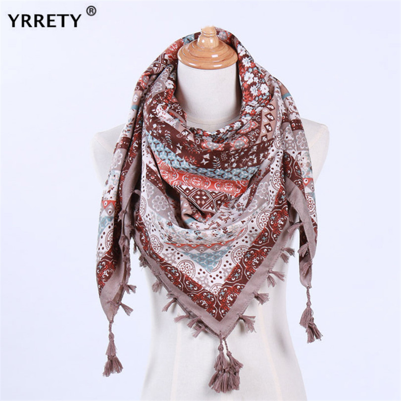 YRRETY Women's Winter Triangle Scarf Printing Warm Cashmere Scarves Female Shawls Pashmina Lady Bandana Wraps Blanket Head Hijab