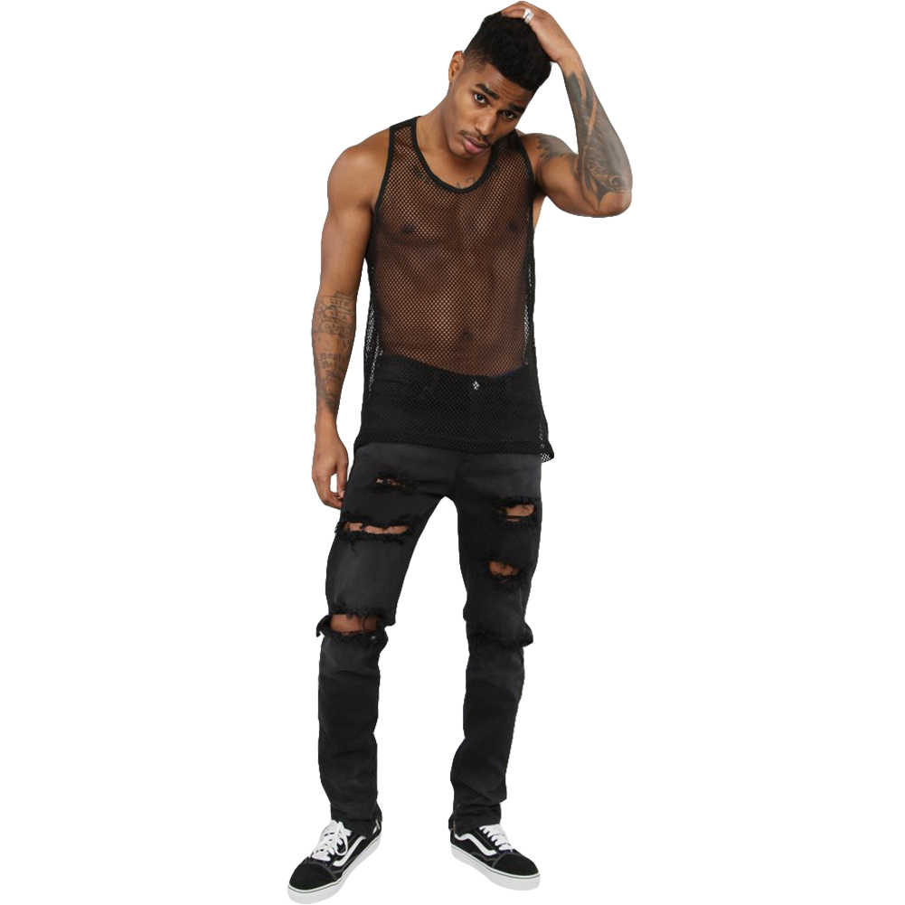 Zomer Mens Sexy Spier Mesh See-through Visnet Sheer T-Shirts Mouwloze Nachtclub Sheer Top Vest Kostuum Tops