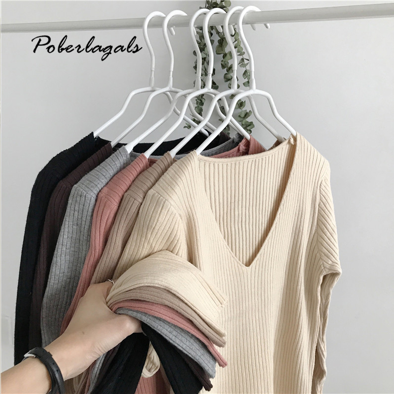 Jumper Winter V-neck Korean Sweaters Women Pullovers Autumn 2019 Knit Solid Color Slim Long-sleeved Wool-blend Sweaters Female