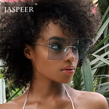 JASPEER Square Sunglasses Color-Lens Tinted Oversized Brown Rimless Retro Trendy Women