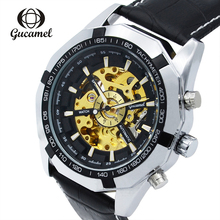 Creative New GUCAMEL Brand Top Luxury Mens Hollow Watch Relogio Masculino Business Automatic Mechanical Men
