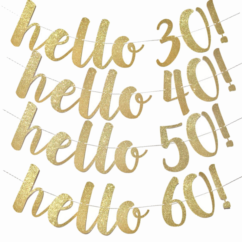 1set gold hello <font><b>30</b></font> 40 50 60 paper banner anniversary birthday party <font><b>decorations</b></font> adult wedding <font><b>decoration</b></font> garland supplies image