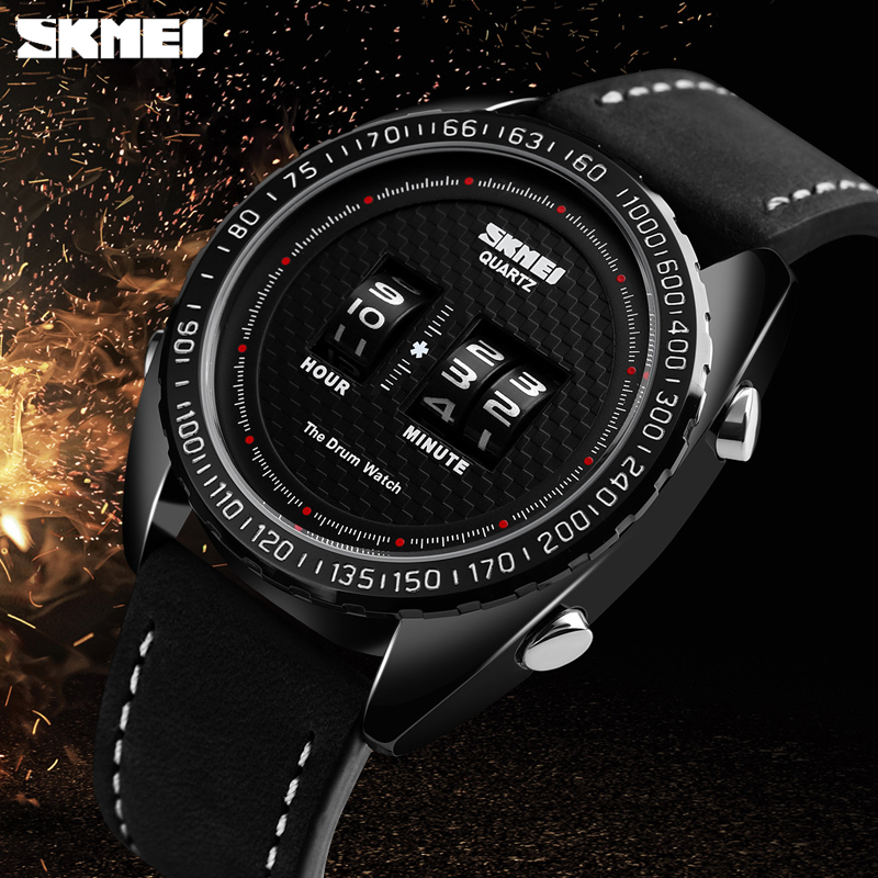 <font><b>SKMEI</b></font> Fashion Creative Watches Men Sports Watches Leather Strap Quartz Wristwatches Clock Relogio Masculino reloj hombre <font><b>1516</b></font> image