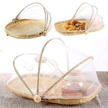 Hecho a mano contra insectos cubierta a prueba de bambú cesta para tienda tejida a mano bandeja contra insectos comida fruta neto del contenedor cubierta de malla herramienta de cocina