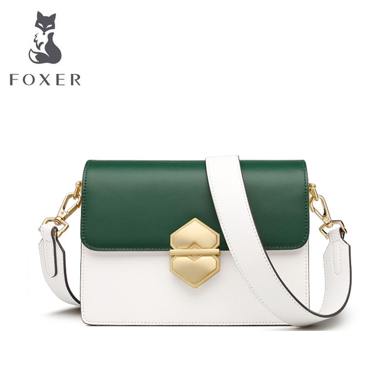 FOXER 2019 New Women leather bags Cowhide quality fashion patchwork women handbags women leather shoulder Crossbody bag