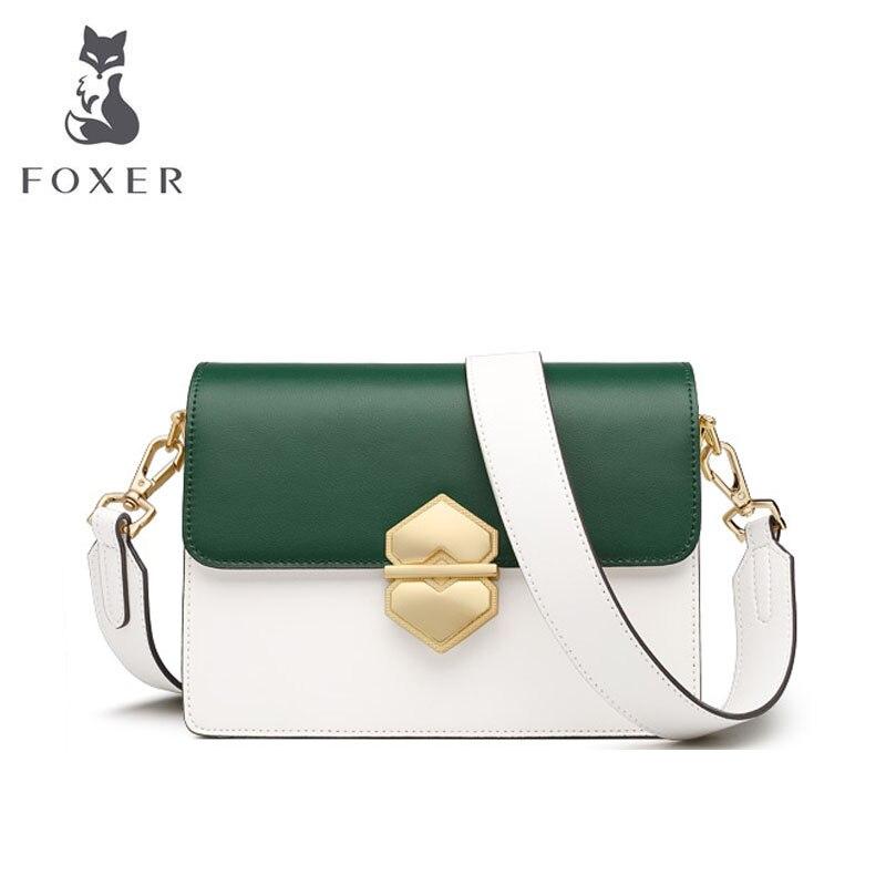 FOXER 2019 New Women leather bags Cowhide quality fashion patchwork women handbags women leather shoulder Crossbody bag