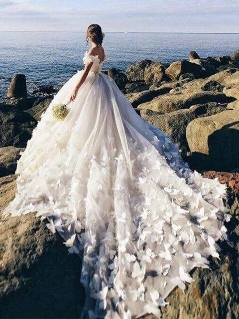 2019 חתונת שמלות תחרה קריסטל Sashes כלה שמלות שווי שרוולים לטאטא Tain Vestidos דה Noivas