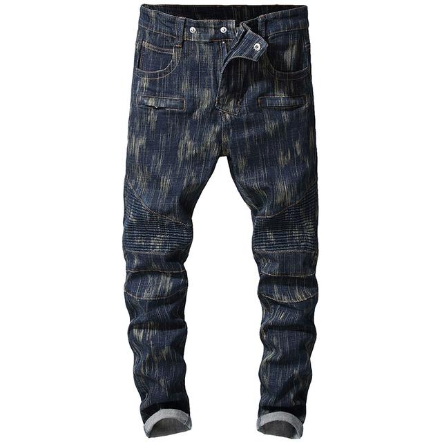 Sokotoo Men's dark blue stretch denim biker jeans for motorcyle Plus size slim pants