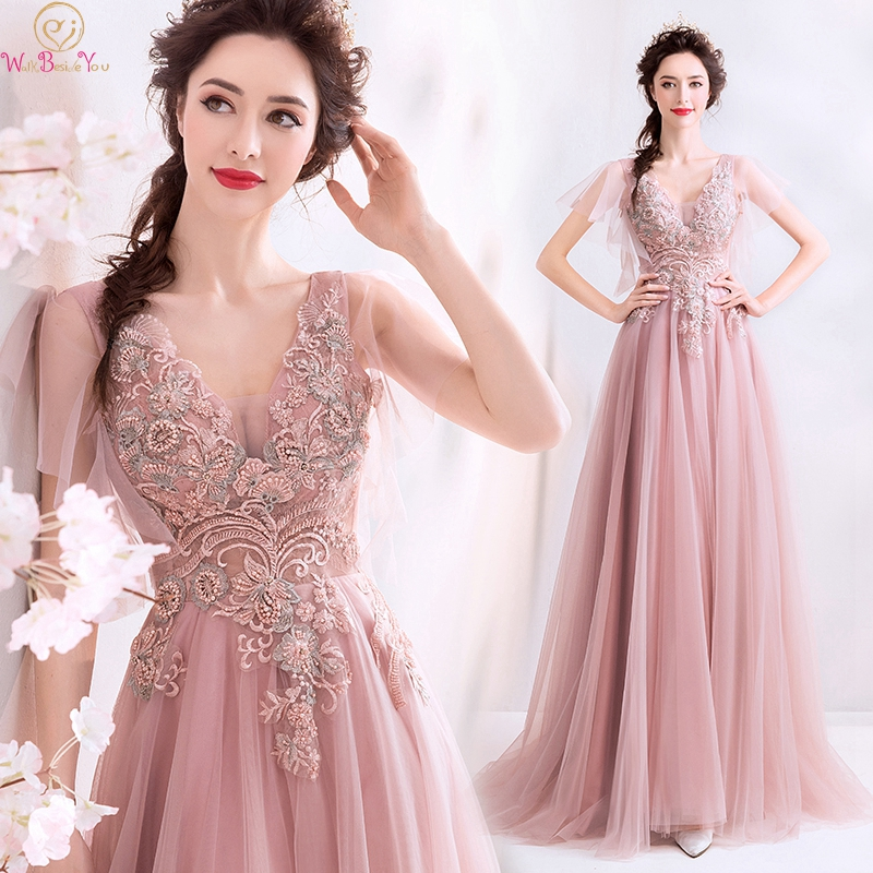 2019 Pink Fashionable Appliques A-Line   Prom     Dresses   Elegant V-Neck Lace Up Sheer Short Sleeves Formal Party Evening Party Gowns