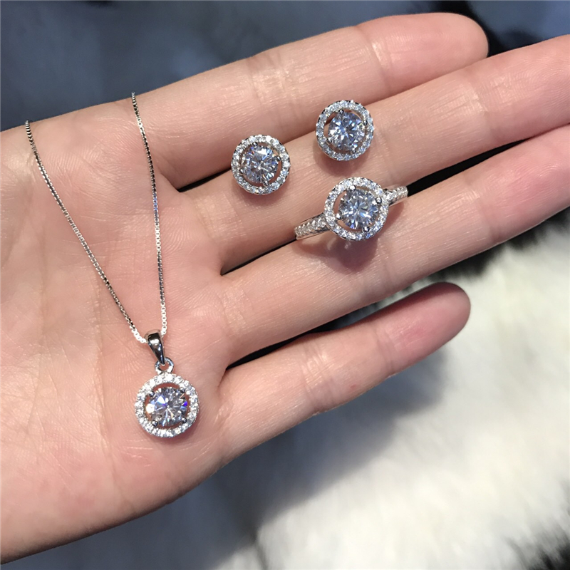 Trendy Diamond Jewelry Set Real 925 Sterling Silver Party Wedding Rings Earrings Necklace For Women Bridal Moissanite Jewelry