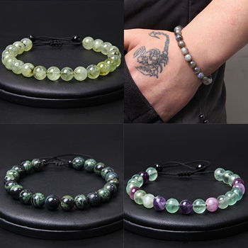 42 Kind Handmade Men Bracelet 8 mm Natural Stone Beads Bangle Blessing Energy Prehnit Pulsera Women Adjustable Bracelet Jewelry natural burma bracelet a cargo bracelet ice waxy kind of violet bracelet send certificates send jewelry box
