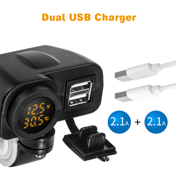 Motorcycle Phone Charger Digital Display Motorcycle Dual USB Charger Voltmeter Thermometer for Cell Phone 2