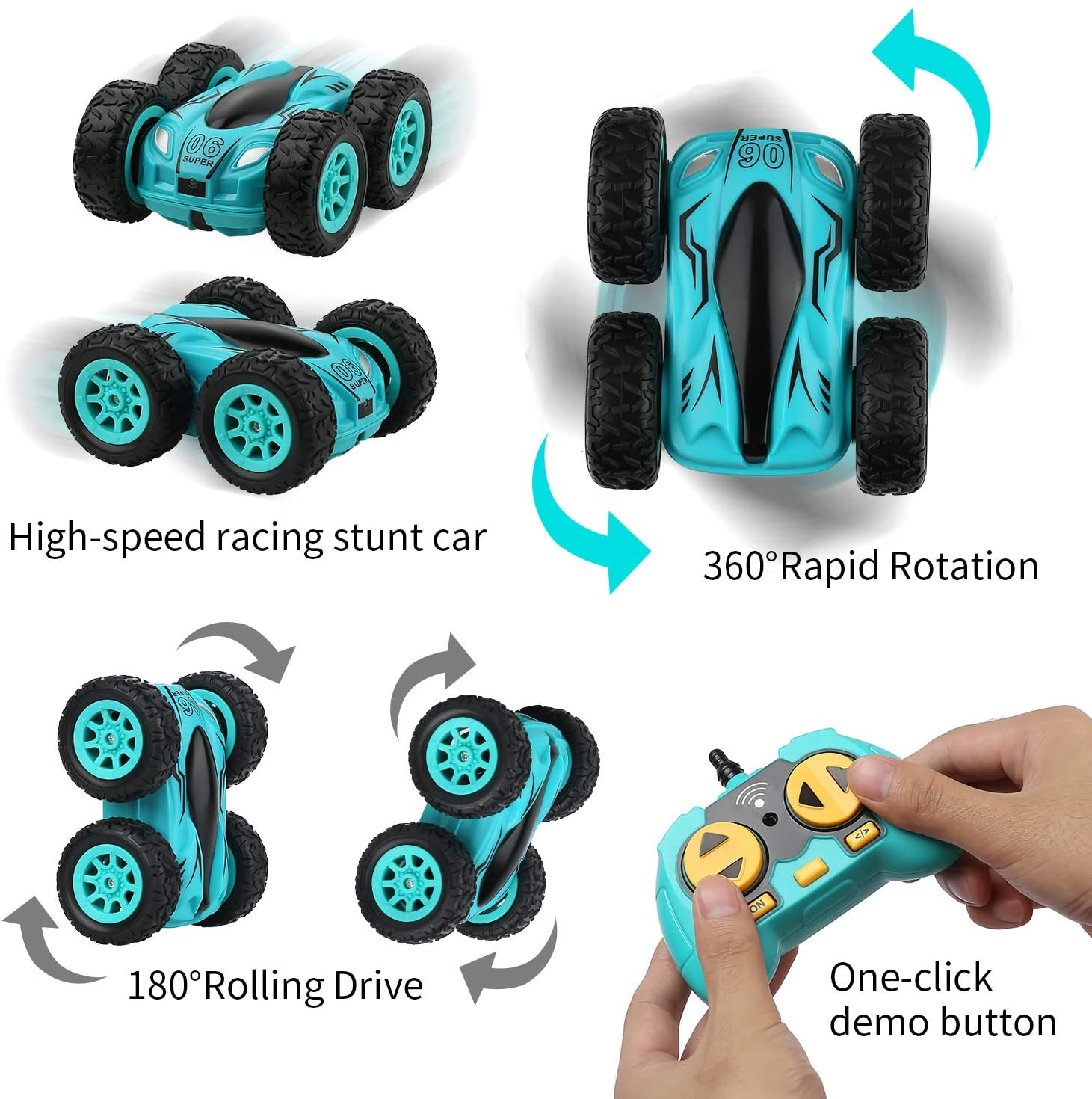 3.7 Inch Rc Auto 2.4G 4CH Dubbelzijdig Bounce Drift Stunt Auto Rock Crawler Roll Auto 360 Graden flip Afstandsbediening Auto Kinderen Speelgoed 2