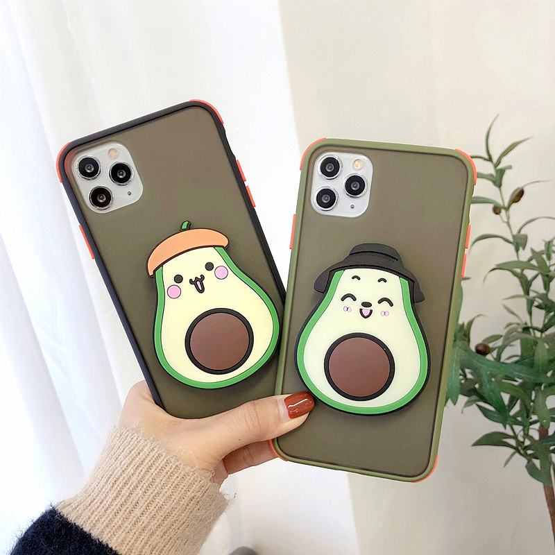 3D Cute Cartoon Fruit Avocado Holder Phone Case For iPhone 11 Pro Max Case XS MAX X XR 6S 7 8 Plus Stand Soft Silicone PC Cover