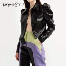 TWOTWINSTYLE, Черная Женская куртка из искусственной кожи, воротник с лацканами, рукава-фонарики, однобортная Женская куртка,, осенняя мода, OL, новинка