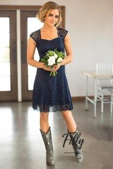 Navy Blue 2019 Cheap Bridesmaid Dresses Under 50 A-line Cap Sleeves Lace Short Wedding Party Dresses