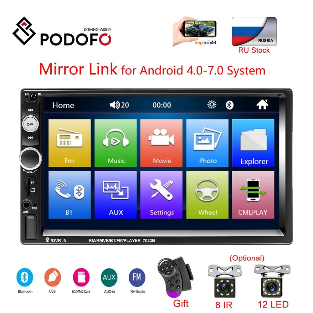 "Podofo 7"" HD Touch Screen Car Monitor Car Radios Mirrorlink 2 din Auto Radio Bluetooth Car Stereo FM Recieiver MP5 Player Camera|Car Monitors| |  - title="